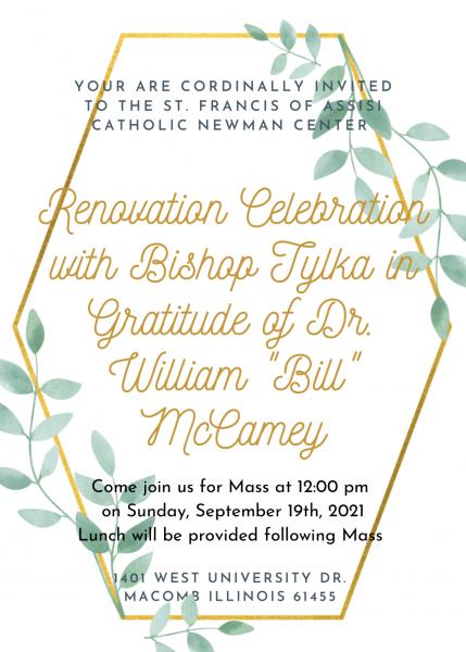 Renovation Celebration September 19th 12:00 pm